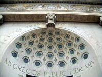 The dome above the doors of the library